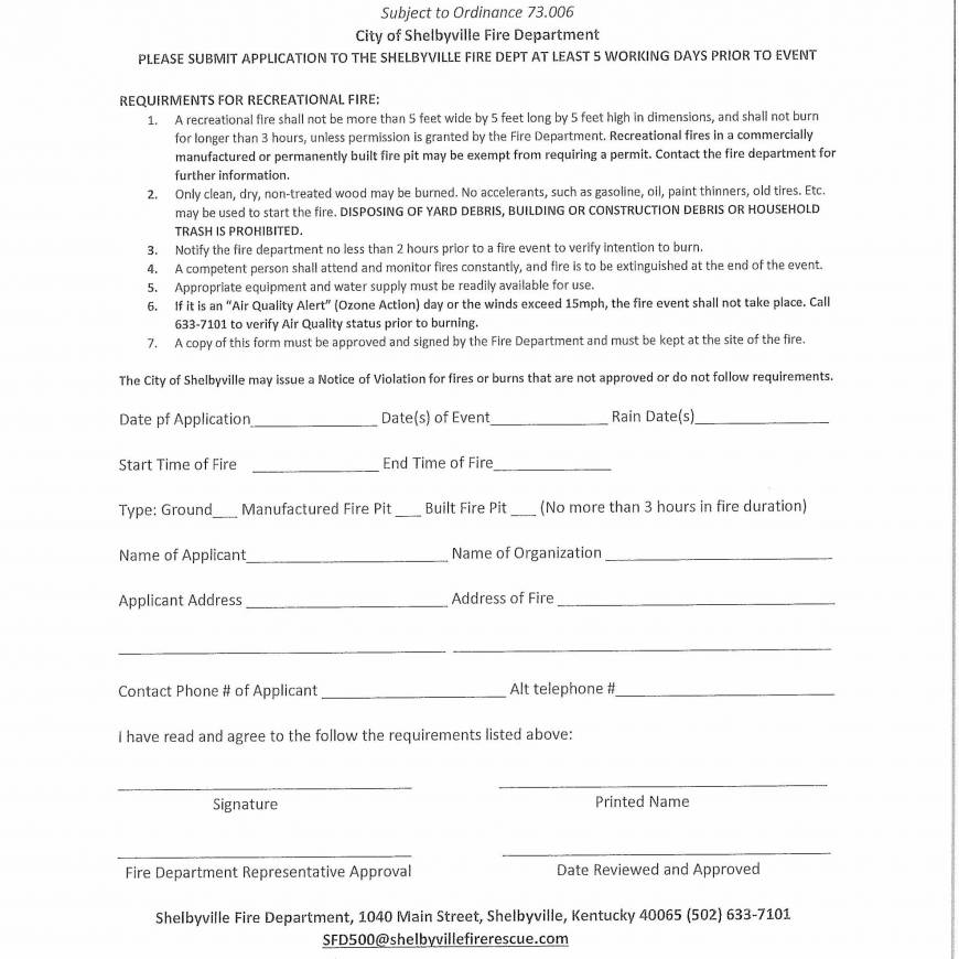 Application for Recreational Fire